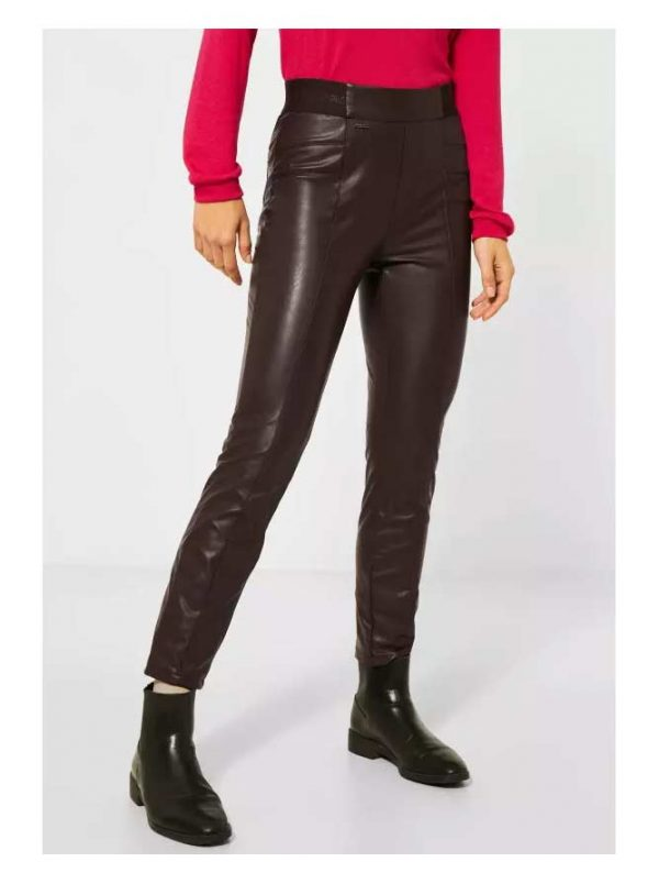 leather look brown jeggings
