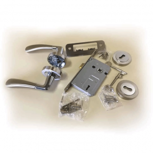 Cabra-Aluminium-Door-Handle-,-Lock-&-Key-Set-on-Rose-Satin-Nickel