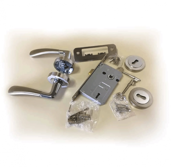 Cabra-Aluminium-Door-Handle-,-Lock-&-Key-Set-on-Rose-Satin-Nickel