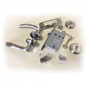 Clara-Aluminium-Door-Handle,-Lock-&-Key-Set-on-Rose-Satin-Nickel