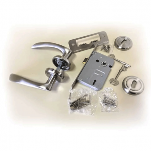 Cobh-Aluminium-Door-Handle,-Lock-&-Key-Set-on-Rose-Satin-Nickel