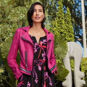 chic hot pink biker style jacket from Joseph Ribkoff