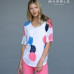 layer top with coral blue & navy