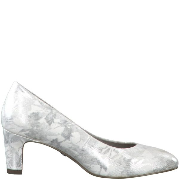 Tamaris '22418' Ladies Heels (White Metallic)