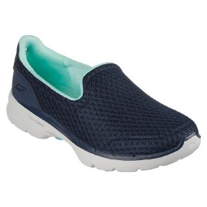 Skechers 'GOwalk 6 - Big Splash' Ladies Shoes (Navy/Turquoise)